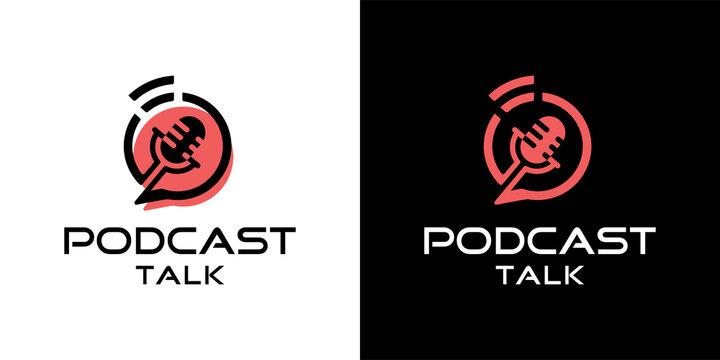Podcast talk sign logo icon design inspiration template