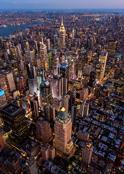 Aerial view of New York cityscape at dusk, New York, United States