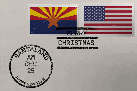 Postage stamp envelope with Arizona and US flag, Christmas and New Year stamps, vector