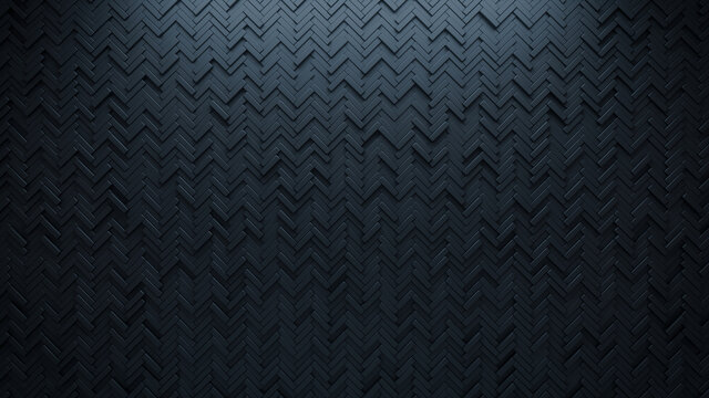 Futuristic, High Tech, dark background, with a herringbone block structure. Wall texture with a 3D parquet tile pattern. 3D render