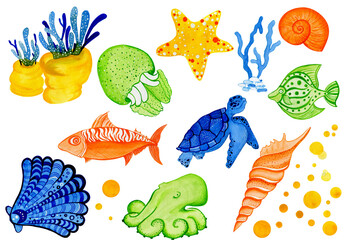 Watercolor set of sea world life with starfish, shell, seaweed , octopus and jelly fish as main heroes. Painted in bright blue, green, yellow and orange colors