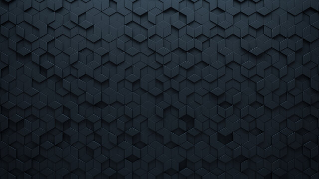 Futuristic, High Tech, dark background, with a diamond shape block structure. Wall texture with a 3D diamond tile pattern. 3D render
