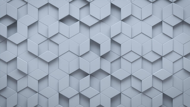 Futuristic, High Tech, light background, with a diamond shape block structure. Wall texture with a 3D diamond tile pattern. 3D render