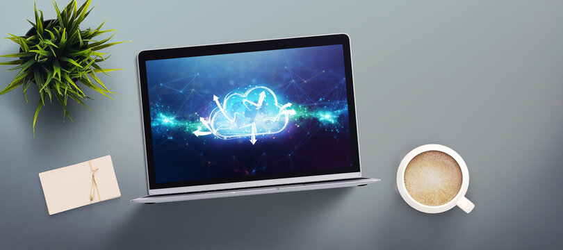 computer showing a cloud with a world map floating in front an abstract grid pattern
