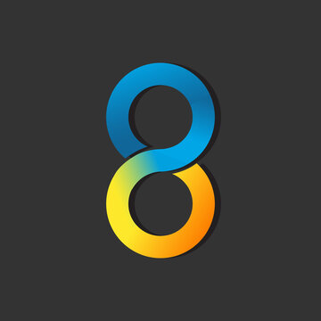 The Number 8 eight Logo Design Graphic Vector illustrations