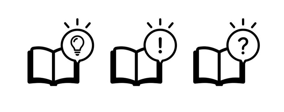 本のアイコンセット/ノート/読書/勉強/学習/吹き出し/ひらめき/気づき/電球