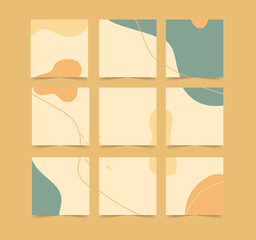 Wall Mural - Abstract organic shapes background for social media grid puzzle post square template