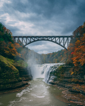 Upper Falls and the Portage Viaduct with autumn color, at Letchworth State Park, New York