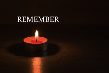 remember. candle and fire - a symbol of memory and continuation of life. Memorial Day in the day of sorrow in memory of the victims of the Holocaust and genocide. Wall mural