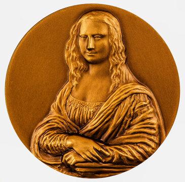 Commemorative coin Lisa del Giocondo  Detail of Mona Lisa (1503-1506) by Leonardo da Vinci, Louvre Born Lisa Gherardini June 15, 1479.