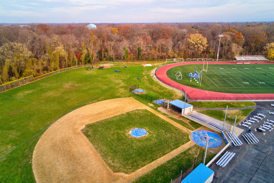 Aerial View of Baseball Field Diamond and Football Field
