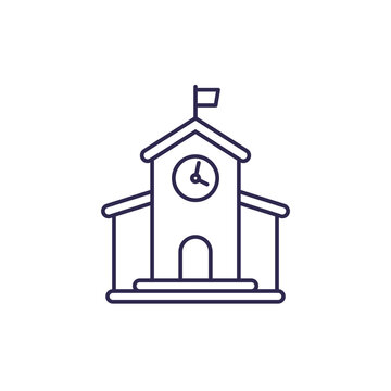 municipal building, city hall line icon, vector