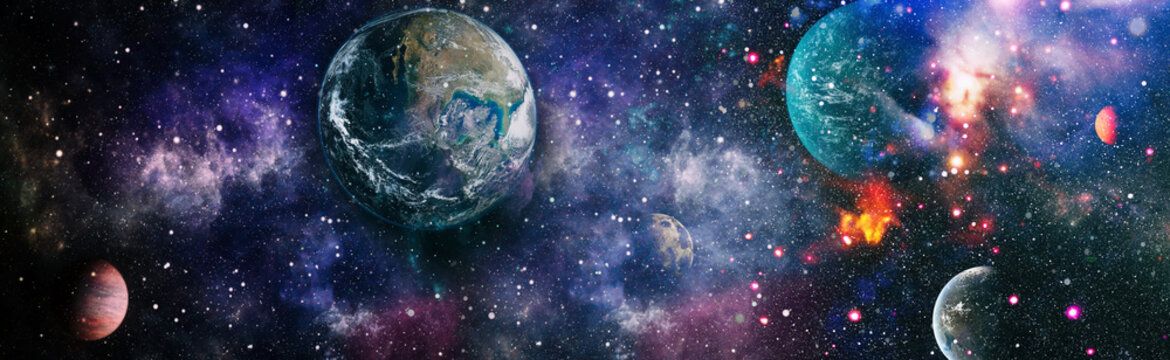 Planet Earth in dark outer space. View of the earth from the moon. Elements of this image furnished by NASA