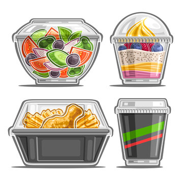 Vector set for Meal Delivery Service, 4 cut out illustrations of organic salad in clear plate, soft serve berry dessert, fried crispy chicken leg with pommes frites and soda in cardboard cup with lid.