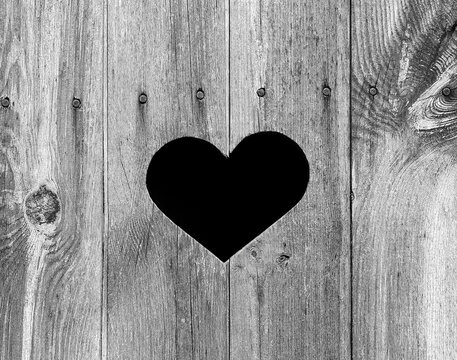 Heart Shape on old weathered wooden outhouse door. Perfect symbol for love that is weathered but ages well! Beautiful aged grey wood texture / pattern