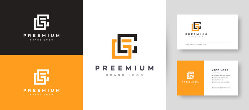 Flat Minimal Initial CG, GC Letter Logo With Premium Business Card Design Vector Template for Your Company Business