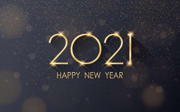 Golden happy new year 2021 with falling glitter