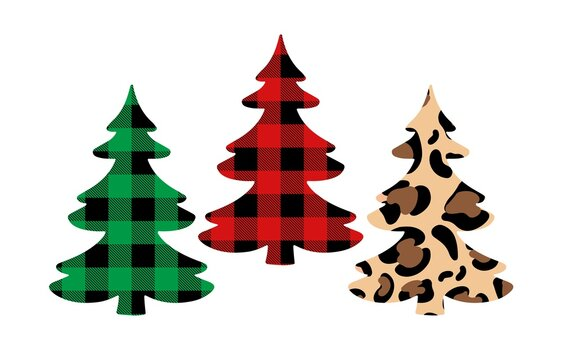 Christmas trees set with Buffalo plaid ornament in red, green and leopard print. Tartan plaid for festive background. Design for greeting card, pattern, banner.  Vector flat illustration.