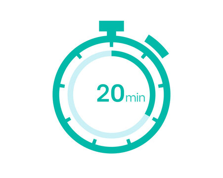 20 minutes timer icon, 20 min digital timer. Clock and watch, timer, countdown