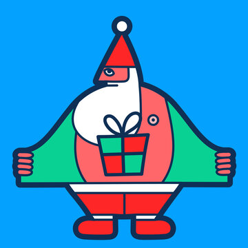 Illustration of Santa Claus with gift under the coat