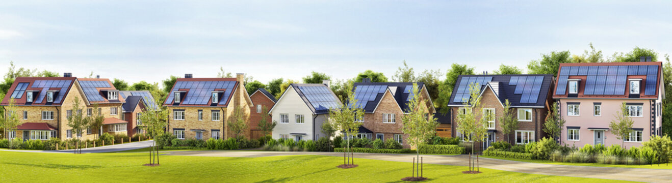 Beautiful new homes with solar panels on the roof