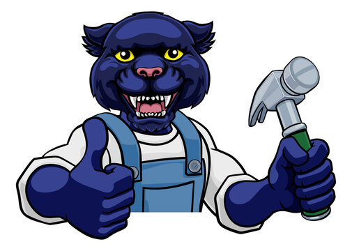A panther cartoon animal mascot carpenter or handyman builder construction maintenance contractor peeking around a sign holding a hammer and giving a thumbs up