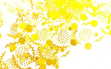 Light Yellow vector doodle backdrop with flowers, roses.