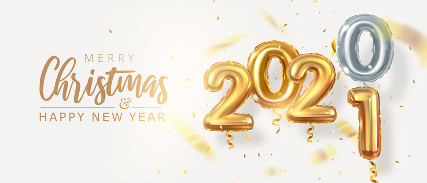 2020 rolling into 2021. Golden realistic balloons numbers with confetti. New Year. Horizontal banner. Vector 3d graphics