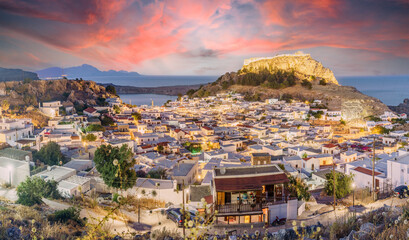 Wall Mural - Landscape with Lindos village and castle at twilight time in Rhodes, Greece