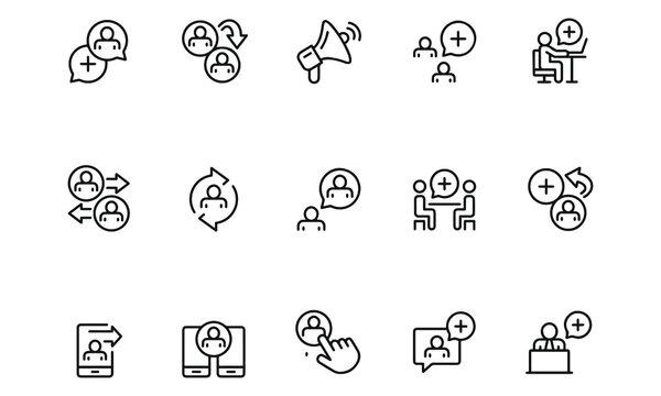 Refer a friend icon set vector design