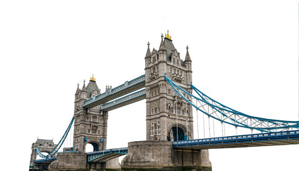 Fototapeta Tower Bridge (London, UK) isolated on white background