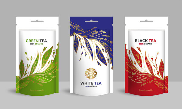 Tea packaging design with zip pouch bag mockup. Vintage vector ornament template. Elegant, classic elements. Great for food, drink and other package types. Can be used for background and wallpaper.