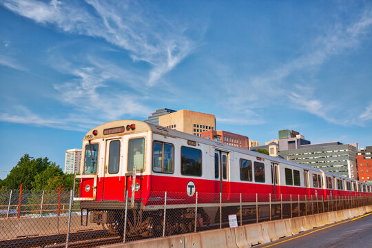 Boston, MA, USA-20 October, 2017: Boston MBTA subway lines, train crossing Longfellow bridge over scenic Charles river