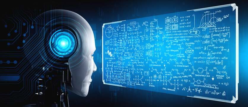 Humanoid AI robot looking at hologram screen in concept of math calculation and scientific equation analytic using artificial intelligence by machine learning process. 3D illustration.