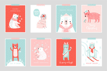 Wall Mural - Christmas card set with Cute Bears celebrating Christmas eve, handwritten letterings and other elements. Funny characters.