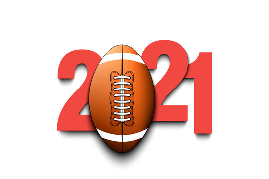 New Year numbers 2021 and football ball on an isolated background. Creative design pattern for greeting card, banner, poster, flyer, party invitation, calendar. Vector illustration