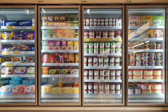 Interior view of huge glass freezer with various brand local and imported frozen food in Jaya Grocery store. KLIA2, MALAYSIA - 24 OCT 2019.