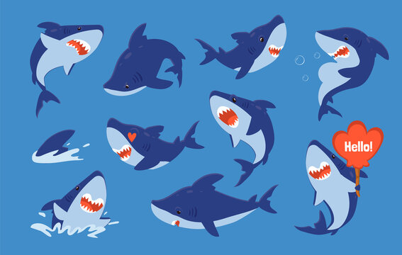 Cute shark. Cartoon ocean fish funny character collection, mascot sea character for kids illustration, underwater or aquarium animal sticker set. Vector isolated sharks creatures with comic emotions