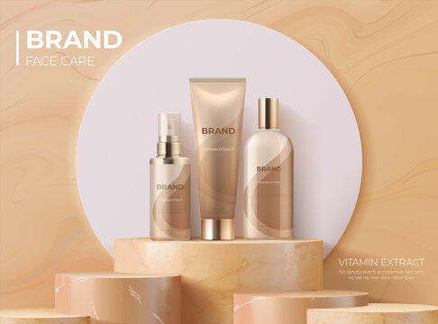Cosmetic product on pedestal. Realistic banner with 3D podium for skin care. Luxury cream, lotion and beauty spray. Advertising store poster with place for text and logo. Vector brand identity mockup