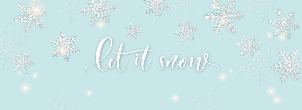 Christmas background with shining snowflakel. Let it snow card illustration on blue background.