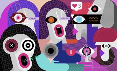 Conversation on a social network, modern art graphic illustration.  People argue and quarrel online.