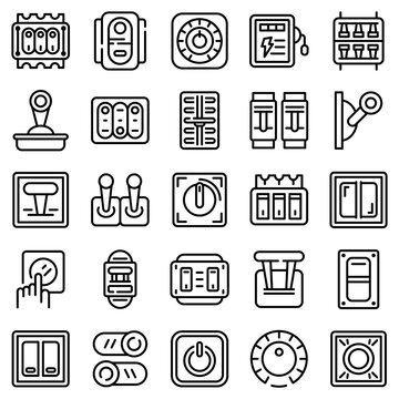 Breaker switch icons set. Outline set of breaker switch vector icons for web design isolated on white background
