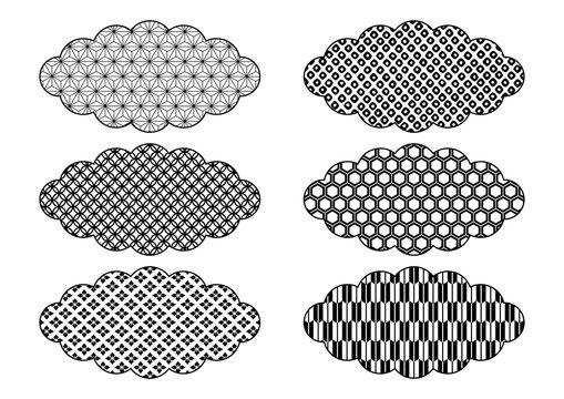 和柄の雲 イラスト素材 黒(麻の葉 七宝 花菱 鹿の子絞り 亀甲 矢絣)