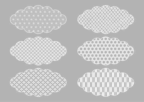 和柄の雲 イラスト素材 銀色背景(麻の葉 七宝 花菱 鹿の子絞り 亀甲 矢絣)