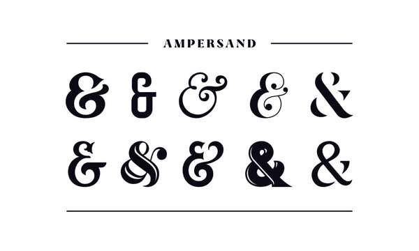 Typography ampersand for wedding invitation. Template symbol of ampersands, sans serif, decorative stock ornament. Vector illustration