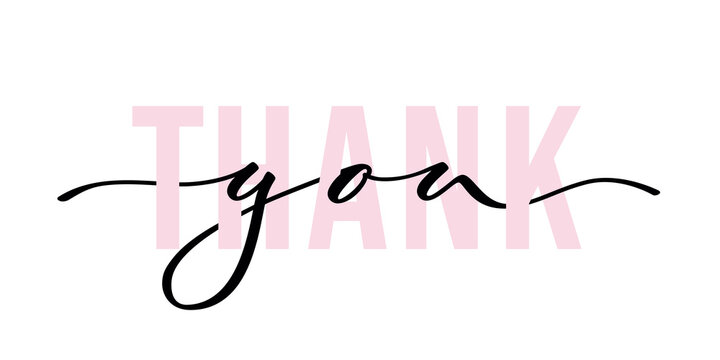 Thank you - isolated inscription with font on white background. Hand lettering. Vector.