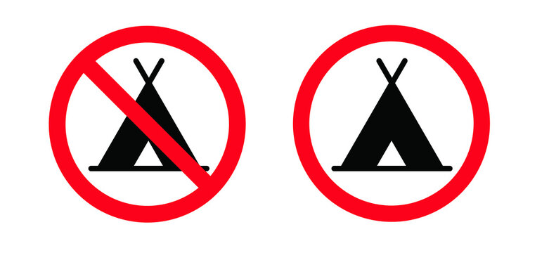 No camper. No camping icon. Silhouette of a trailer, a house on wheels. No camping tent, cars and caravans forbidden sign. Stop halt allowed Do not enter, no ban signs. Prohibited icons.
