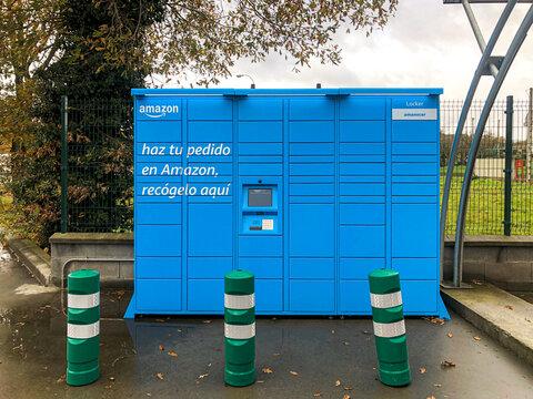 ALLARIZ, SPAIN - DECEMBER 05, 2020: Amazon locker located at a petrol station.