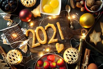 Happy 2021 christmas baking kitchen background