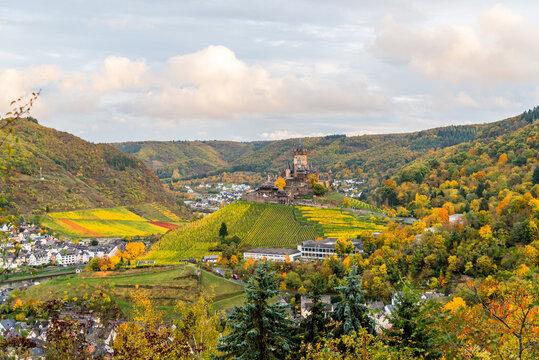 View of Reichsburg with beautiful autumn surrounding, Cochem, Rhineland-Palatinate, Germany
